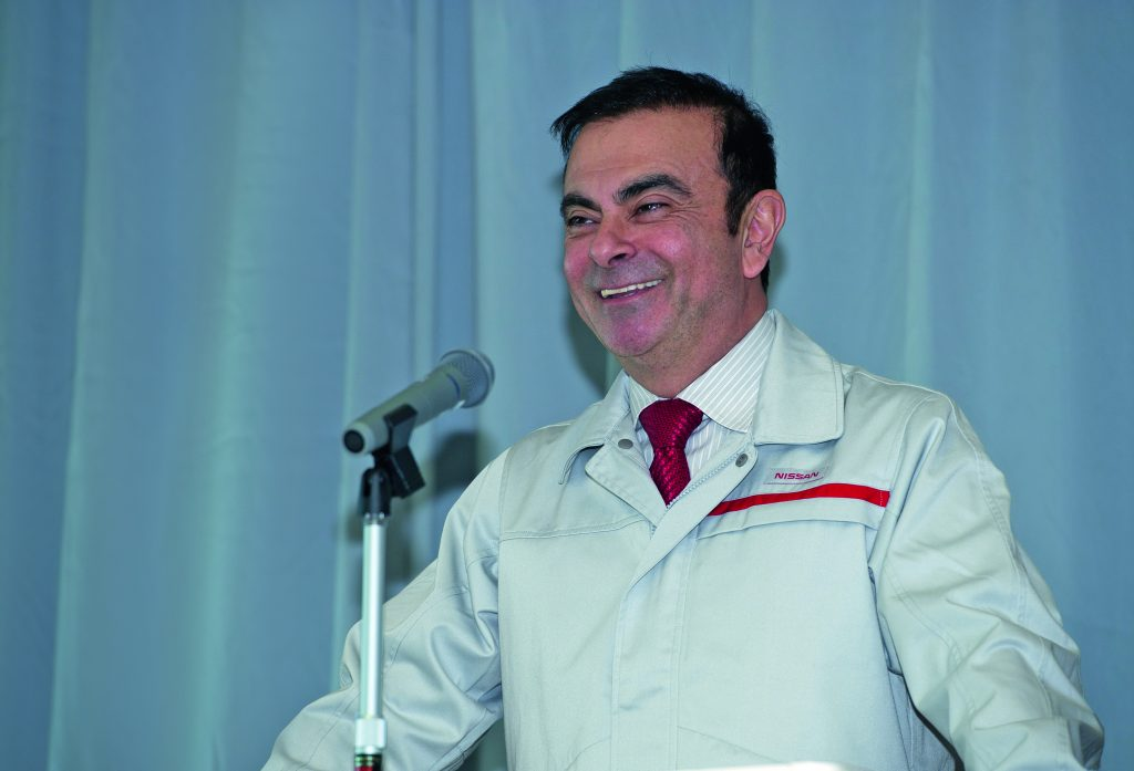 CEO Carlos Ghosn smiles while addressing the staff at Nissan Iwaki Plant.